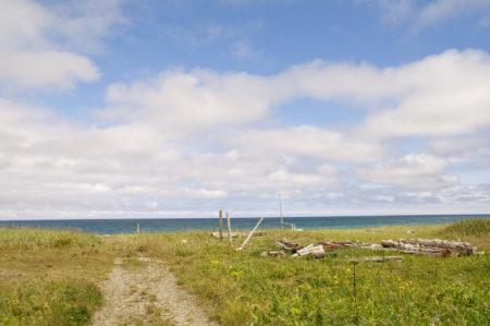 空と海辺に続く道